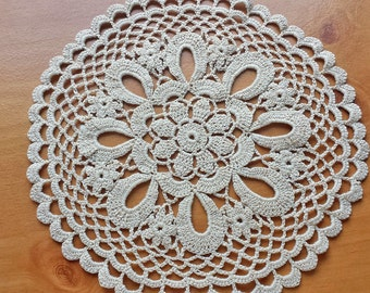 Beautiful Vintage Doily, 8.5 inch Crochet Doily with Flower Design, Intricate Round Doily Perfect for Home Decor, Weddings, and Crafts