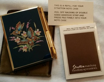Stratton Notepad & Pen Purse Set; Featuring Two Butterflies On A Floral Motif All On A Blue Enamel Background circa 1970's   DR240