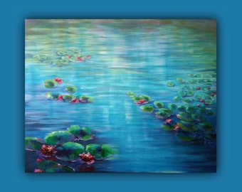 """Oil Painting, """"A Quiet Moment"""" - Huge Original painting, like monet, flowers, Waterlilies, Lilly Pond, Lilies, Monet, Waterlily"""