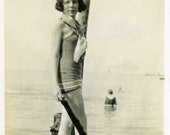 "Vintage Photo ""Alicia and Her Atlantic Adventure"" Beach Snapshot Antique Photo Black & White Photograph Found Paper Ephemera Vernacular - 25"