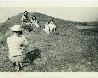 "Vintage Photo ""Farm Family Portrait"" Taking Picture Camera Snapshot Old Photo Black & White Photograph Found Paper Ephemera Vernacular - 119"