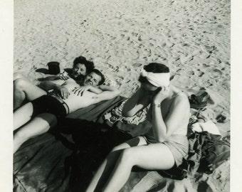 "Vintage Photo ""Sandy Memories"" Beach Bathing Suit Girl Snapshot Antique Photo Black & White Photograph Found Paper Ephemera Vernacular - 151"