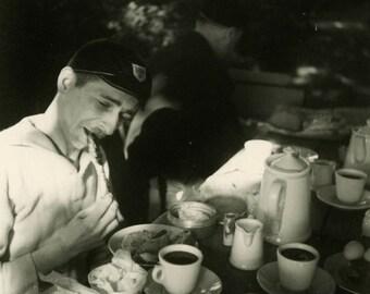 """Vintage Photo """"The Nibbler"""" Men Man Eating Food Snapshot Photo Old Antique Black & White Photograph Found Paper Ephemera Vernacular - 28"""