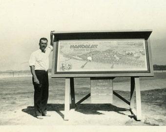 "Vintage Photo ""Welcome to Mandalay"" Sign Advertising Snapshot Antique Photo Black & White Photograph Found Paper Ephemera Vernacular - 120"