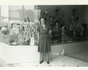 "Vintage Photo ""Shopping for Shoes and a Hat"" Store Snapshot Photo Old Photo Black & White Photograph Found Paper Ephemera Vernacular - 119"