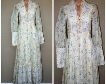 Vintage 60s 70s Gunne Sax Floral Hippie Prairie Boho Festival Corset Bodice Lace Sheer Maxi Dress sz size S XS