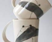 BADGER porcelain coffee mugs, white and black animal cup, forest animals, badger unique coffee mug, large whimsical porcelain cup