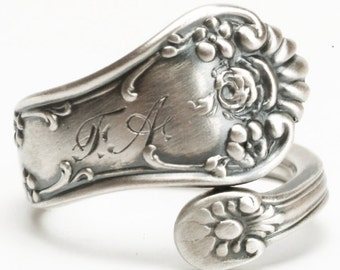 Rose Flower Ring, Sterling Silver Spoon Ring, Wild Rose Ring, Petite Ring, Custom Ring Size, Vintage Spoon Ring, Frank Smith ca 1918 (5991)