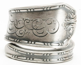 Elegant Ring, Silver Victorian Ring, Sterling Silver Spoon Ring, Engraved BLO, Handcrafted Gift, Custom Ring Size, Minimalist Ring (6011)