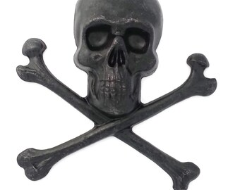 Black Brass Large Skeleton Skull and Cross Bones Pirate Face Stamping Jewelry Making 55mm x 57mm Made in the USA