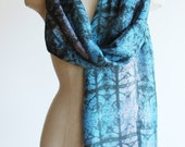 Turquoise scarf, hand printed silk scarf