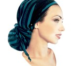 Black Head Scarf Turquoise Stripes Soft Cotton Knit Black Lace Boho Chic Pre Tied Bandana Tichel Hair Snood Chemo Hat Cap Wrap Hippie