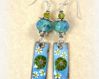 Light Blue and Green Enameled Copper Charm Earrings - Lampwork Beads and Charm Earrings - Denim Blue Daisies - One of a Kind Charm Earrings