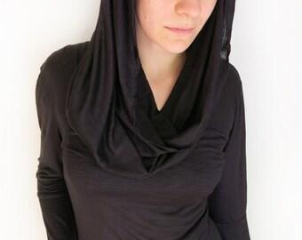 Women's Cowl Neck Hoody Long Sleeve Top