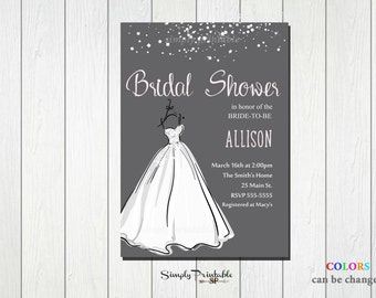 Wedding Shower Invitation, Bridal Shower Invite, Wedding Dress, Modern Bridal Shower Invitation, Grey and Pink Bride