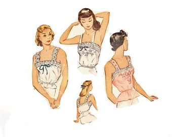 1940s Vintage Camisole Pattern, Peplum Waist, Sleeveless, Lingerie Pattern, Bust 32, Size 14 McCall 1423 Vintage Sewing Pattern