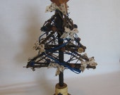 """Primitive Embellished Twig Tree Table Top Christmas Tree Blue and Cream Decorated 13"""" Twig Tree Holiday Tree SnowNoseCrafts"""