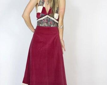 70s Hippie Maxi Dress Patchwork & Velvet Halter Maxi Dress Boho Long Open Back Summer Piece of My Heart Dress
