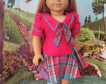 Historical  Dress, 1970s Doll Dress,  Vintage School Dress ,  18 inch Doll Clothes