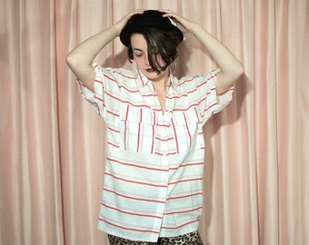 Red and White Striped Cotton Blouse, 80s