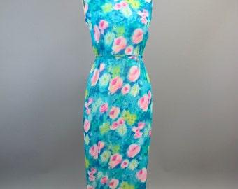 1960s Silk Chiffon Floral Will Steinman Evening Dress