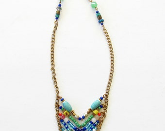 SALE~Chevron Beaded Necklace With Swarovski Pearl Drop / Boho / Handade / One of a Kind Statement Necklace~ Free Shipping US!