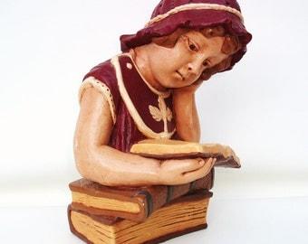 Chalkware Figurine,  Vintage Sculpture Bust, Large Children Bookend, Girl Statue, Victorian Fashion