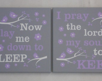 NURSERY WALL SIGNS Baby Girl Nursery Sign: Now I Lay Me Down To Sleep / I Pray The Lord My Soul To Keep - Lettering in Light Purple and Gray