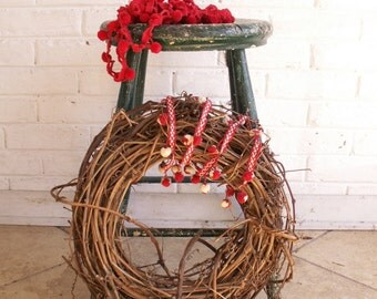 Vintage Green Painted Wood Stool - Perfect Christmas Decor!