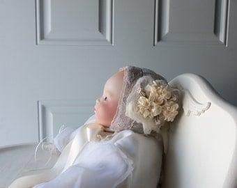 Baby Bonnet - Newborn Bonnet, Handmade, OOAK, Easter Bonnet, Keepsake, Babys First Photo, Doll Collectors, Christening, Baptism, Display