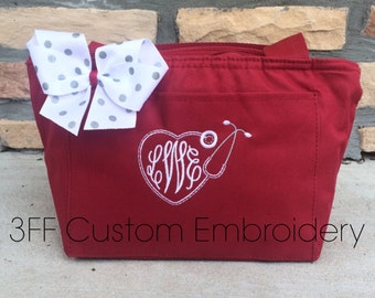 Personalized Monogrammed Insulated NURSE/DOCTOR Heart Stethoscope Lunch Tote 26 Tote Colors