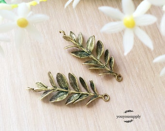 2pcs Brass Leafy Branch Conector Charm- Olive Branch