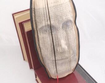 Book sculpture  carved book face portrait  relief unique gift art object