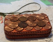Copper penny credit card case,stash box, altered tin box