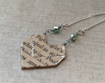 Sweetheart Literary Origami Paper Heart Necklace // Winnie the Pooh