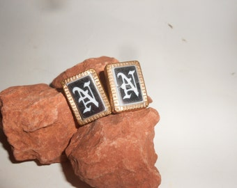 """Mourning Cuff-Links 1800s Jet Overlay Black & White """"N"""" Intaglio Initial Gold Plated Antique Victorian Grooms's Wear- Rare Form"""