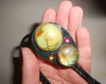 Huge Green Turquoise & Labradorite Bolo Tie On Polished Agate Slab -Very Untraditional Statement Piece