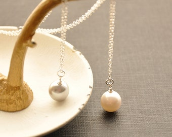 Single Pearl Necklace, Minimal Gold Necklace, Silver Necklace, Pearl Drop Necklace, Minimal Pearl Jewelry, Bridesmaid Gift