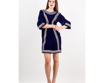 Vintage velvet mini dress / 1960s Indian tunic / Silver and Sapphire S M