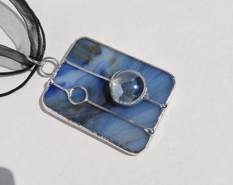Wispy blue stained glass rectangle pendant free shipping one of a kind