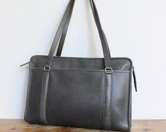 Vintage Coach Bag // Coach Tote Shopper Bag Gray Navy Blue // Coach Briefcase USA // Computer Laptop Bag