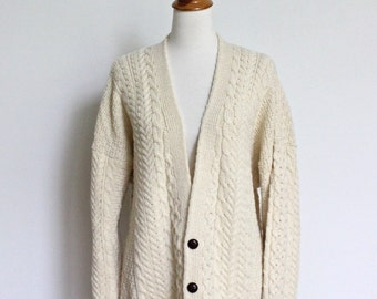 Vintage Fisherman Sweater // Orvis Wool Cardigan Sweater Chunky Cream Knit Oversize // Cable Knit Cardigan Large