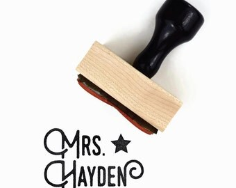 Custom Teacher Name Rubber Stamp (Two Lines) - Personalized Customized Teacher Gift