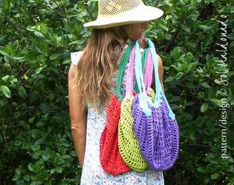Crochet pattern Grocery Bag PDF - tote mesh crochet bag - Instant Download