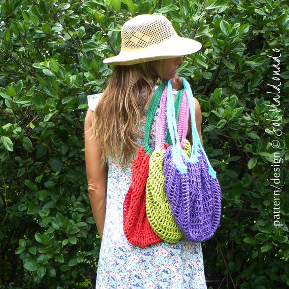 Crochet Mesh Bag Pattern : Crochet pattern Grocery Bag PDF - tote mesh crochet bag - Instant ...