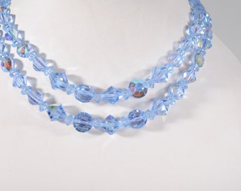 Vintage 1950s Blue Crystal Necklace - Aurora Borealis Wedding - 1960s Bridal Fashions