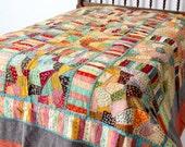vintage Kantha quilt, boho patchwork bedcover, full size bedspread