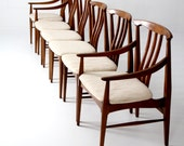 mid century dining chair set of 6, danish modern walnut chairs