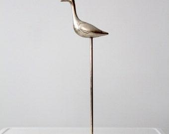 mid-century chrome bird statue, modern vintage animal figurine