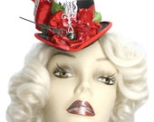 Alice In Wonderland Mini Fascinator Top Hat Steampunk Tea Party Painting The Roses Red